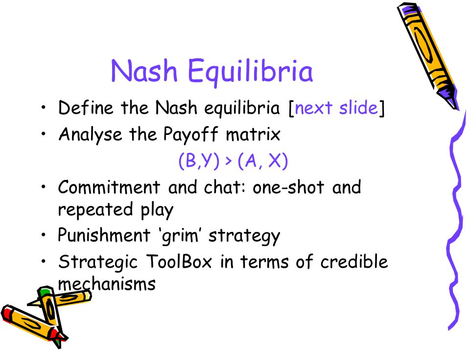 Nash Equilibria Define the Nash equilibria [next slide]
